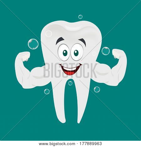 Vector of Strong and Healthy super Tooth