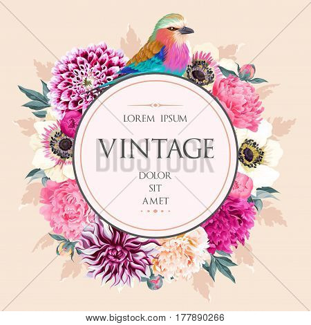 Vector greeting card with vintage flowers and the bird