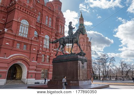 Moscow, Russia - 23 March 2017: Monument Of The Marshal Of Soviet Union Army Georgy Zhukov.