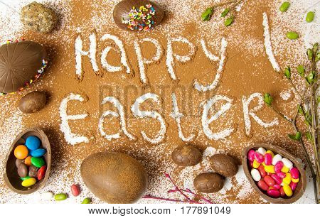 Easter Note In Cacao Powder With Chocolate Eggs