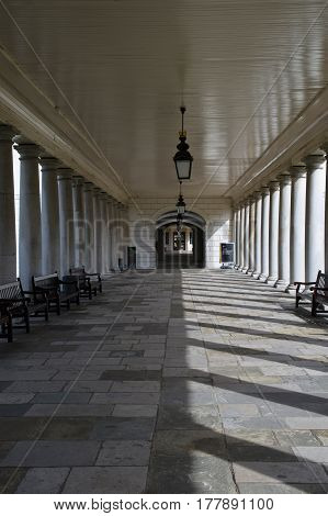 arcade of the palace of the old royal navy college in greenwich