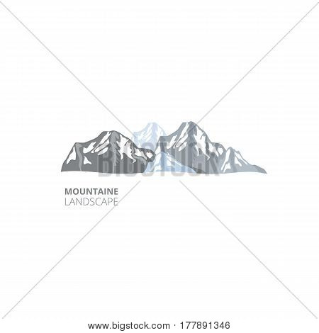 Mountain landscape for company resort logo . Vector