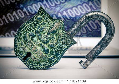 Ganesh padlock in front of a laptop
