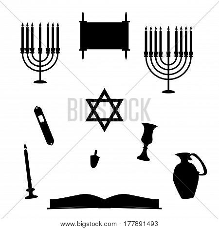 A selection of jewish religious object silhouettes isolated on a white background