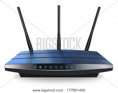 Wi-Fi wireless internet router isolated white background 3d