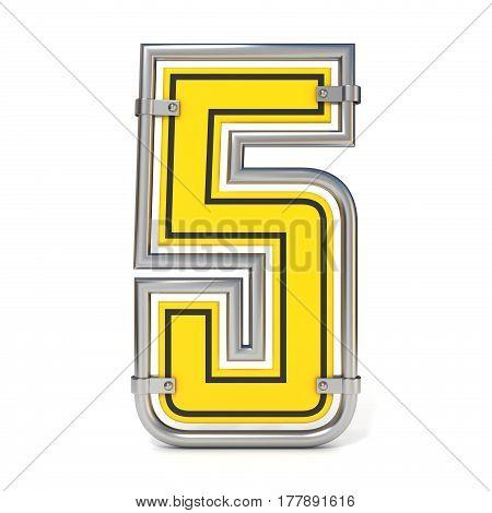 Framed Traffic Road Sign Font Number 5 3D