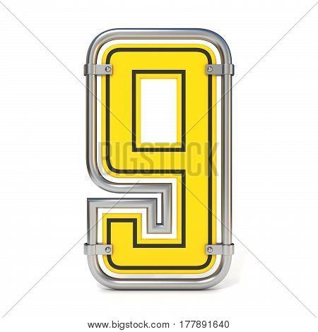 Framed Traffic Road Sign Font Number 9 3D