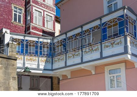 Facades of houses in the old town of Porto Portugal