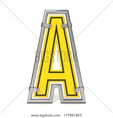 Framed Traffic Road Sign Font Letter A 3D