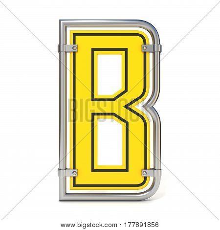 Framed Traffic Road Sign Font Letter B 3D