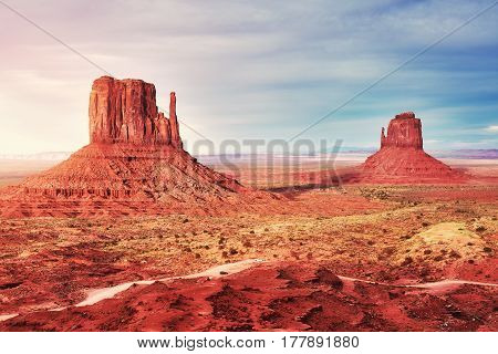 Color Toned Sunset Over Monument Valley, Usa