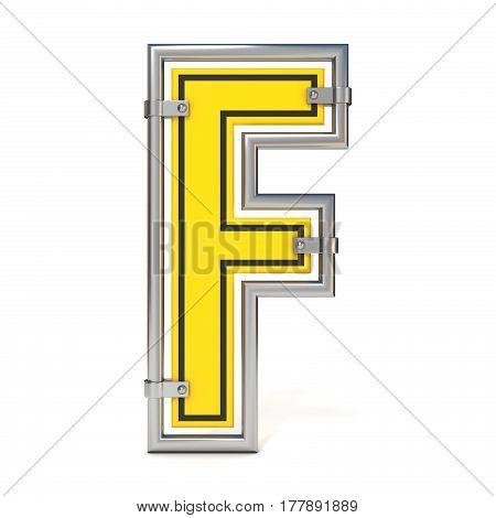 Framed Traffic Road Sign Font Letter F 3D