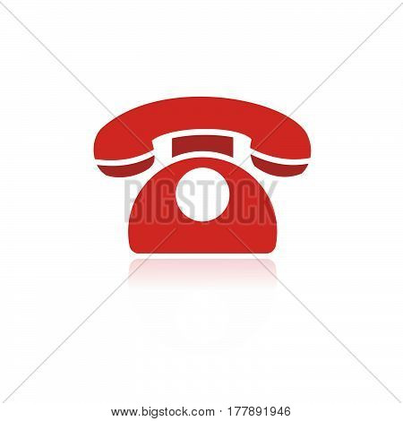 Red phone icon with reflection on a white background