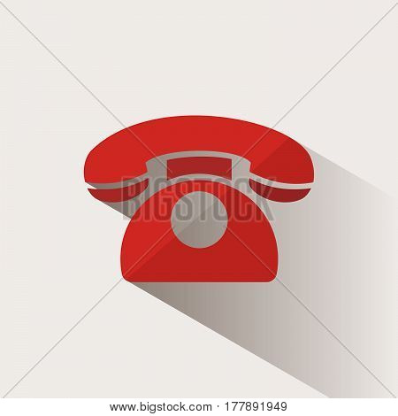 Red phone icon with shadow on a beige background