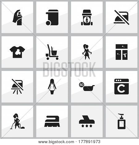 Set Of 16 Editable Cleanup Icons. Includes Symbols Such As Washing Glass, Exhauster, Laundress And More. Can Be Used For Web, Mobile, UI And Infographic Design.