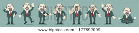 Professor in various emotional states. The comic caricature. Cartoon. Vector. Characters. Isolated objects.