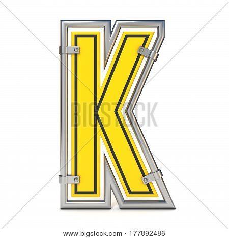Framed Traffic Road Sign Font Letter K 3D