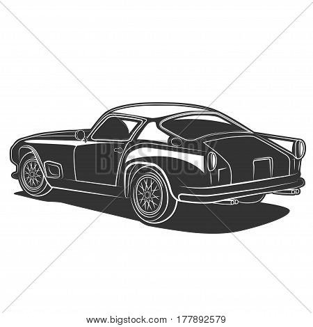 Vector illustration of classic Italian super car in black and white on a white background for logos, badges, design, print and the web