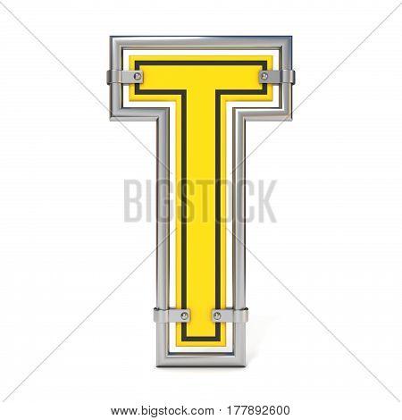 Framed Traffic Road Sign Font Letter T 3D