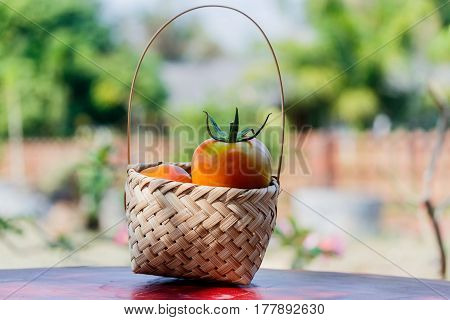 red tomatoes in bamboo basket on table