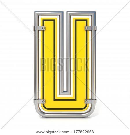 Framed Traffic Road Sign Font Letter U 3D