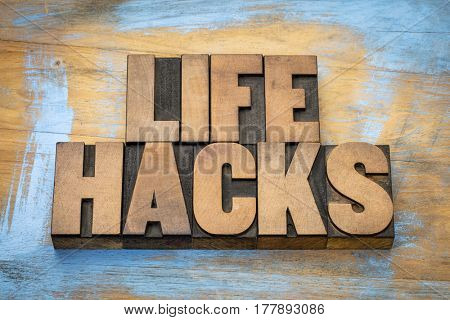 life hacks  - word abstract in vintage letterpress printing blocks against grunge wooden background
