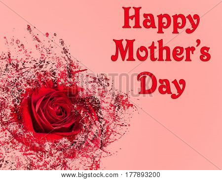 Happy Mother's Day pink background image with red rose in abstract pattern