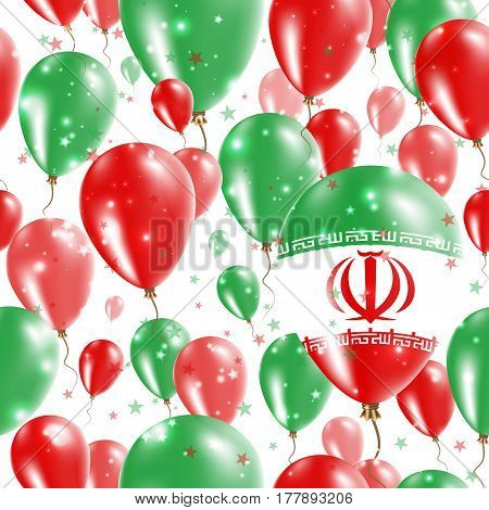 Iran Independence Day Seamless Pattern. Flying Rubber Balloons In Colors Of The Iranian Flag. Happy