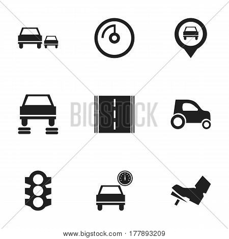 Set Of 9 Editable Traffic Icons. Includes Symbols Such As Speed Display, Vehicle Car, Automobile And More. Can Be Used For Web, Mobile, UI And Infographic Design.