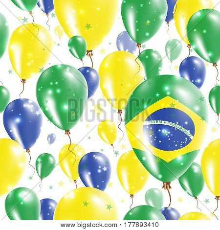 Brazil Independence Day Seamless Pattern. Flying Rubber Balloons In Colors Of The Brazilian Flag. Ha