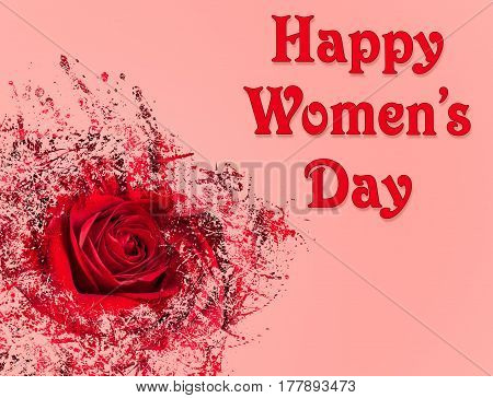 Happy Women's Day or International Womens Day celebrated on March 8th. Pink background image with red rose and abstract pattern