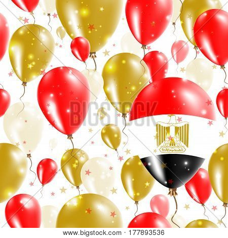 Egypt Independence Day Seamless Pattern. Flying Rubber Balloons In Colors Of The Egyptian Flag. Happ