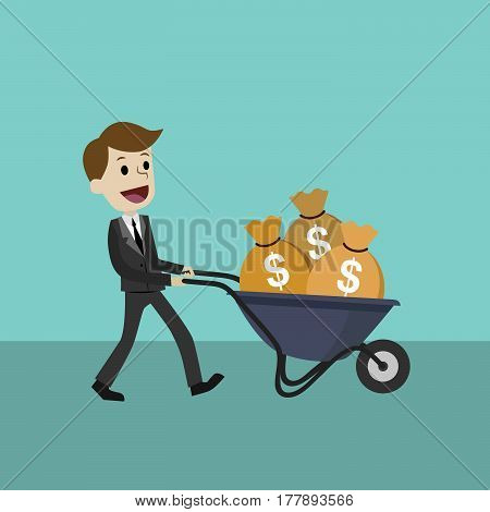 Profit and success. Salary bonus. Illustration vector