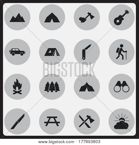 Set Of 16 Editable Travel Icons. Includes Symbols Such As Fever, Sunrise, Musical Instrument And More. Can Be Used For Web, Mobile, UI And Infographic Design.