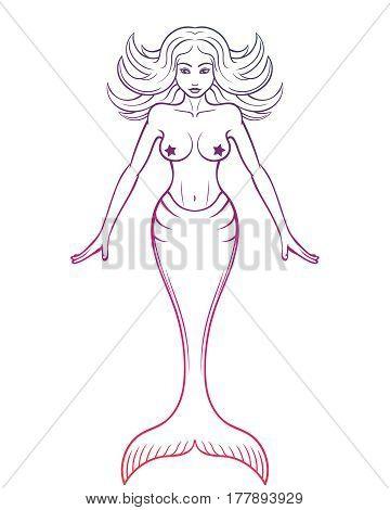 Mermaid vector outline on white, vector illustration