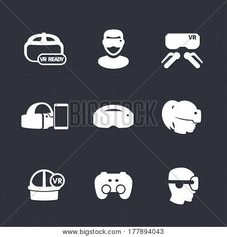 virtual reality icons set, VR ready, glasses, games, vector illustration