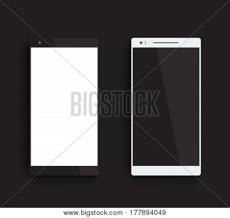 mockups with black and silver smartphones, vector illustration