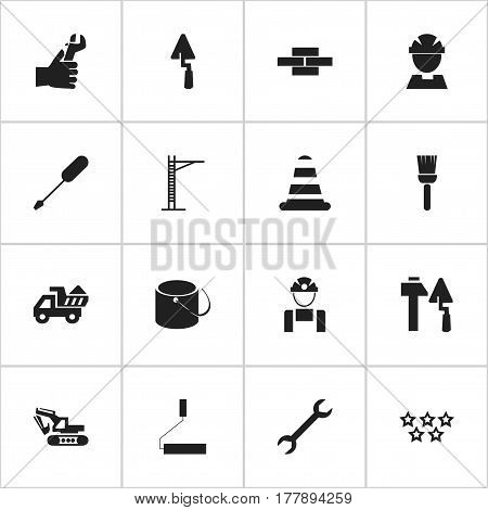Set Of 16 Editable Construction Icons. Includes Symbols Such As Employee, Construction Tools, Trowel And More. Can Be Used For Web, Mobile, UI And Infographic Design.