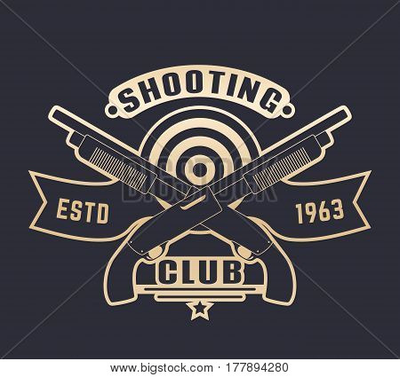 Shooting club logo with guns, two crossed shotguns, gold over dark