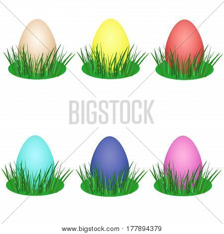 Set of colorful eggs in green grass for Easter holiday