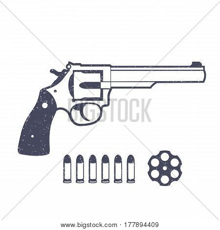 Revolver, handgun isolated over white, vector illustration