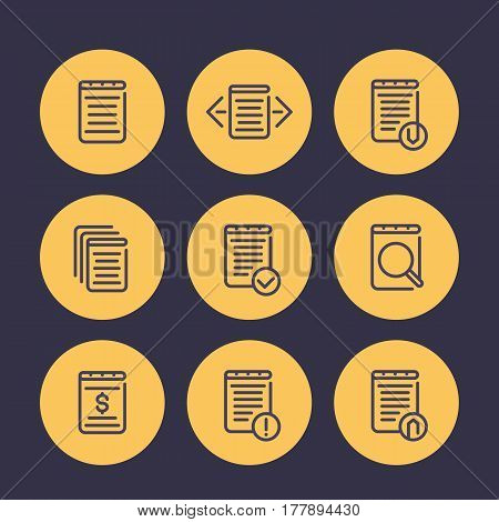 reports, account, records, finance documents line icons set, vector illustration