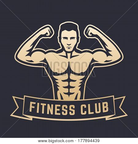 Posing athlete, strong bodybuilder, man showing his biceps, fitness club logo, emblem, gold on dark