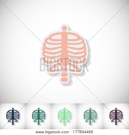 Human rib cage. Flat sticker with shadow on white background. Vector illustration