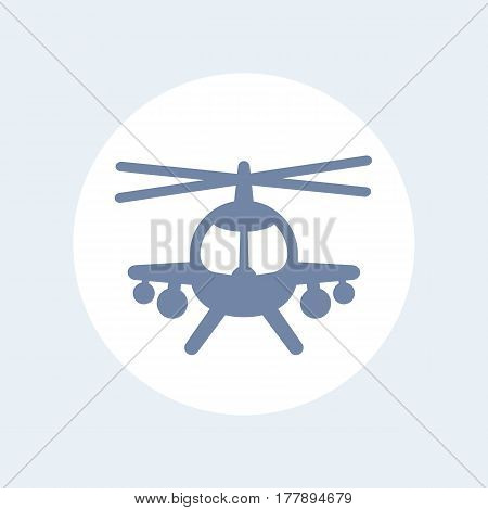 combat helicopter icon isolated over white, vector illustration