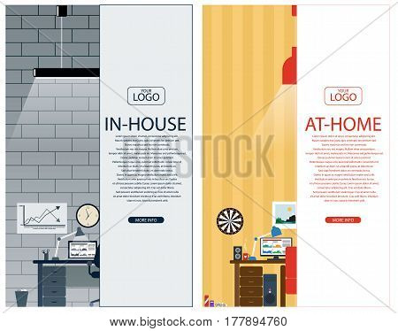 Two banner for web design. In-house and at-home jobs theme. Flat design vector illustration.
