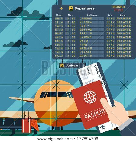 Man with passport and boarding pass waiting flight. Illustration inside in flat design of airport with a plane with gangplank, timetable in background. All flights  delayed due to bad weather