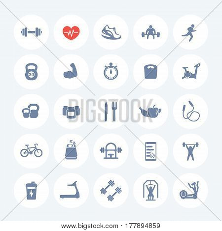 25 fitness icons set, gym, workout, exercises, training pictograms on white, vector illustration