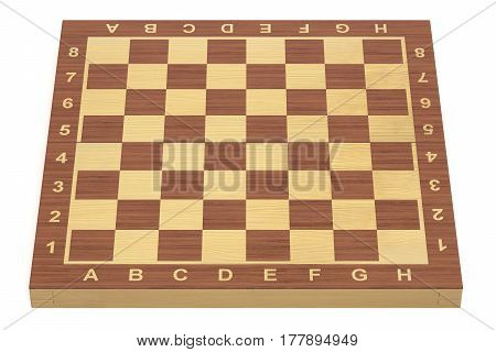 Empty chess board 3D rendering isolated on white background