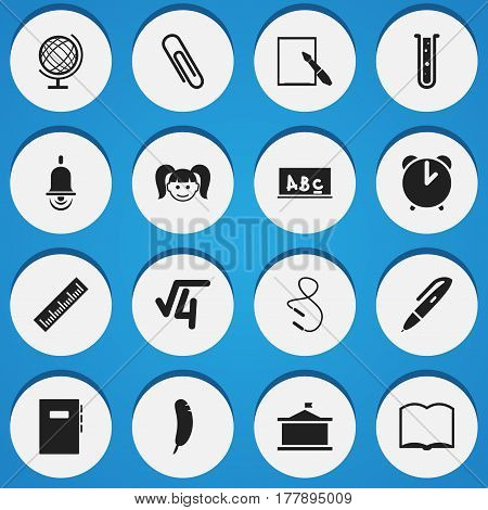 Set Of 16 Editable Education Icons. Includes Symbols Such As Feather, Daughter, Math Root And More. Can Be Used For Web, Mobile, UI And Infographic Design.